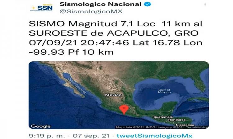 Se registra sismo de 7.1 con epicentro al sureste de Acapulco Guerrero; y afecta a ciudades como Puebla y la CDMX