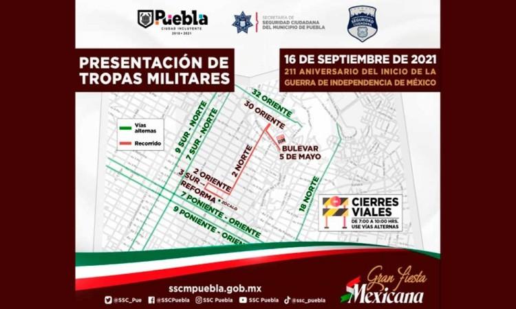 Anuncia Ayuntamiento de Puebla presentación de tropas militares para este 16 de septiembre