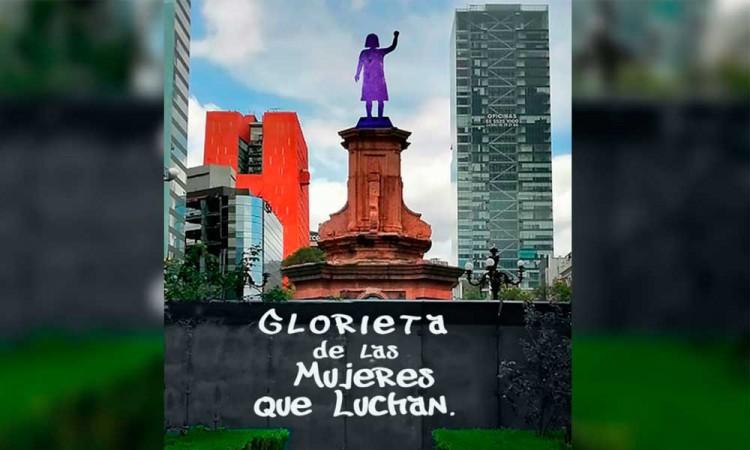 Adiós monumento de Cristóbal Colón, hola Glorieta de las Mujeres que Luchan