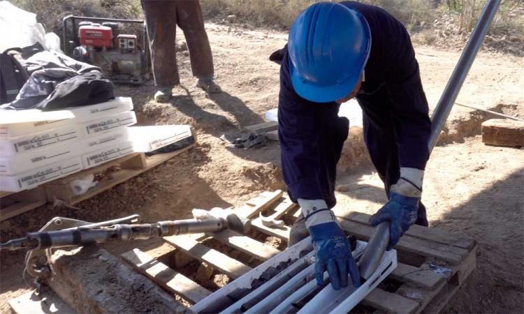 labores de barrenación en una zona adyacente al proyecto de mina Ixtaca