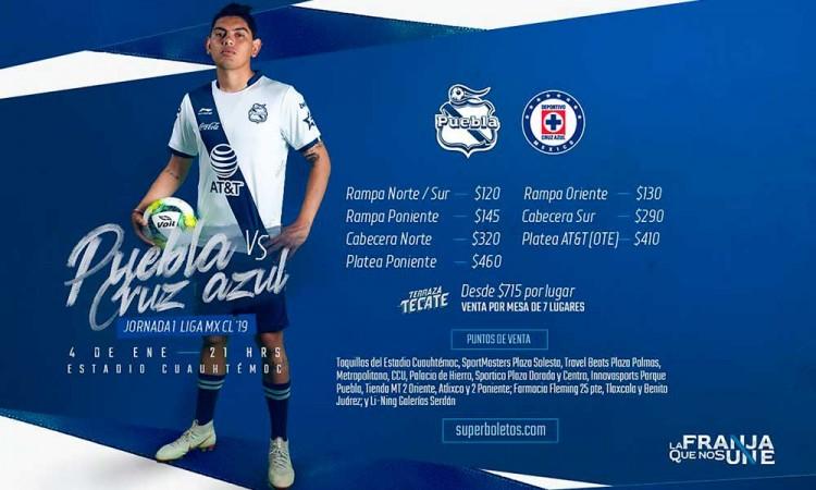 Estos son los precios para el Club Puebla frente a Cruz Azul