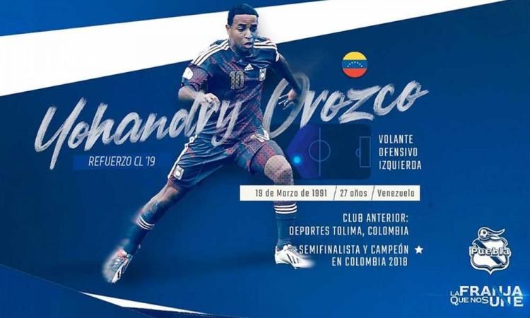 Yohandry Orozco, refuerzo del Club Puebla