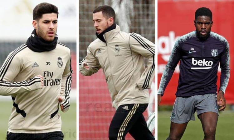 Hazard y Asensio ya entrenan con el Madrid; Umtiti, la única baja del Barça