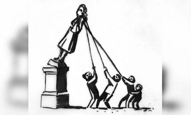 Banksy da ideas para restituir estatua derribada en protesta