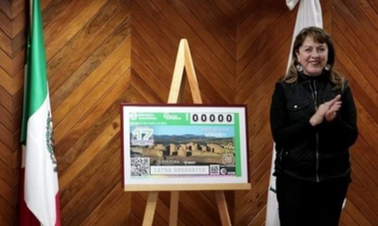 Devela Lotería Nacional billete conmemorativo de la Zona Arqueológica Altavista, en Zacatecas