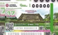 Develación de billete de lotería de Cempoala, Veracruz, tercer motivo de la serie de zonas arqueológicas de México