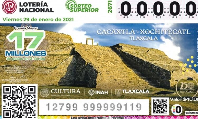 Lotería Nacional devela el billete de Cacaxtla-Xochitécatl, Tlaxcala, el cuarto de la serie dedicada a las zonas arqueol