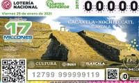 Lotería Nacional devela el billete de Cacaxtla-Xochitécatl, Tlaxcala, el cuarto de la serie dedicada a las zonas arqueológicas de México