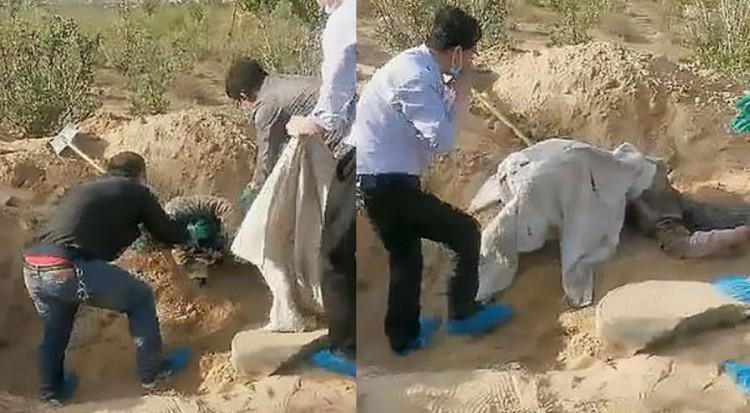 Encuentran a mujer con vida tras haber sido enterrada por su hijo