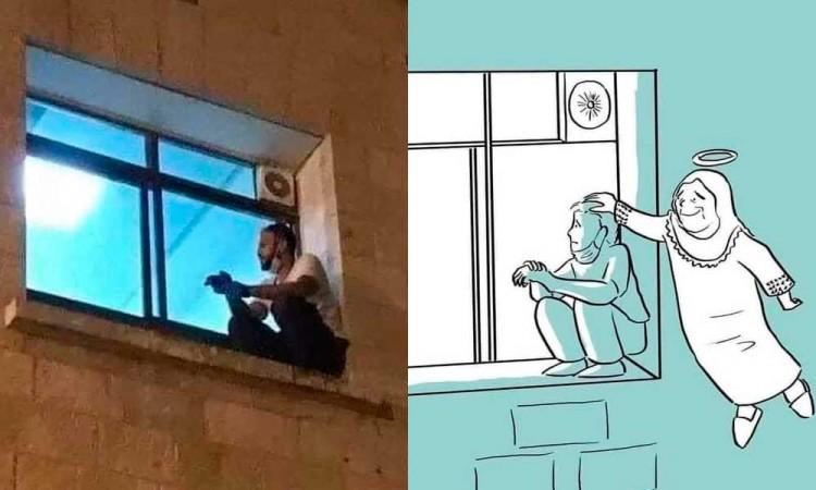 Palestino trepa hacia una ventana de hospital para despedirse de su madre contagiada de Covid