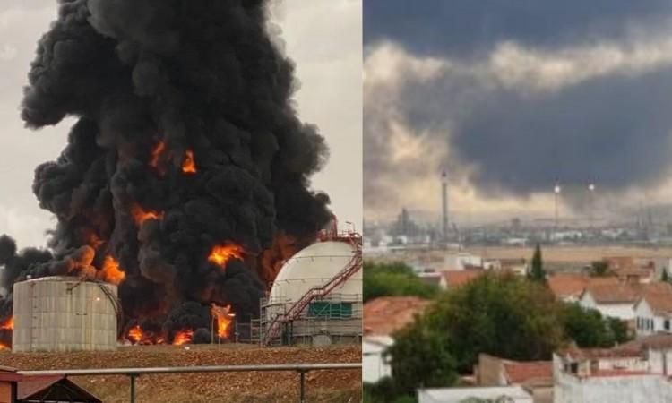 Rayo provoca incendio en un tanque de combustible en la planta de Repsol en Puertollano