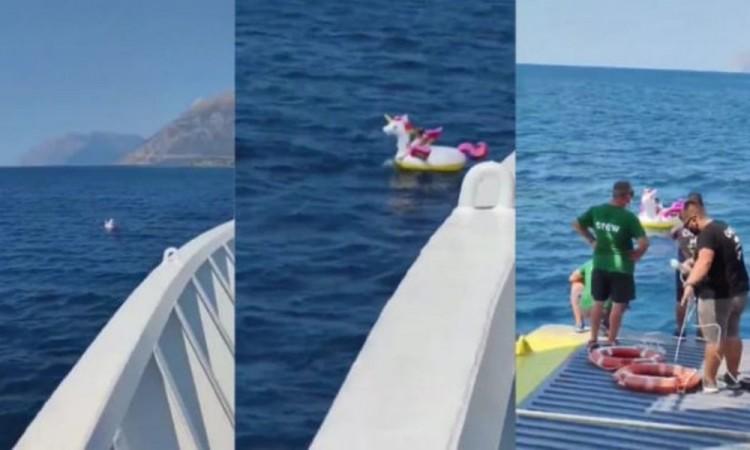 Salvan a pequeña que flotaba en mar abierto, en un salvavidas de unicornio