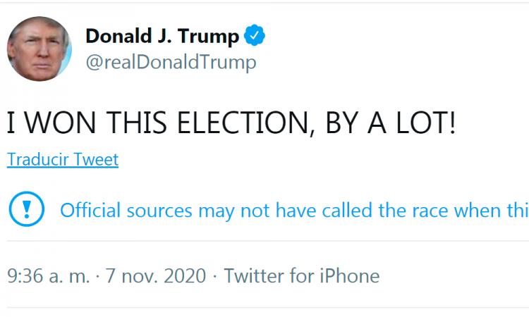 Twitter marca como 'disputado' tuit de Trump en el que se declara ganador