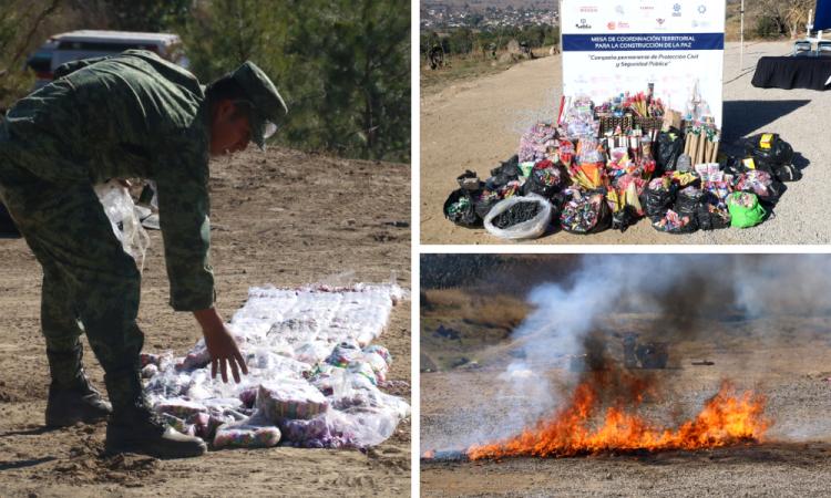 Destruyen mil quinientos kilos de pirotecnia decomisada en San Pedro