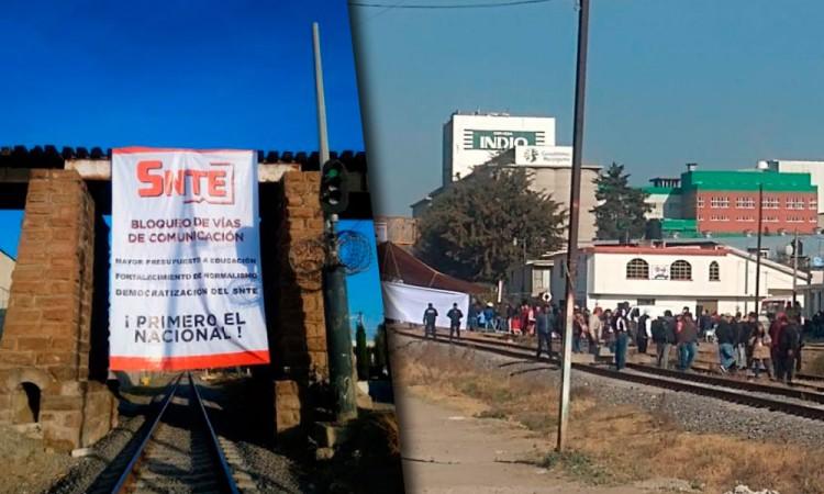 Maestros del SNTE bloquean vías férreas en Lara Grajales