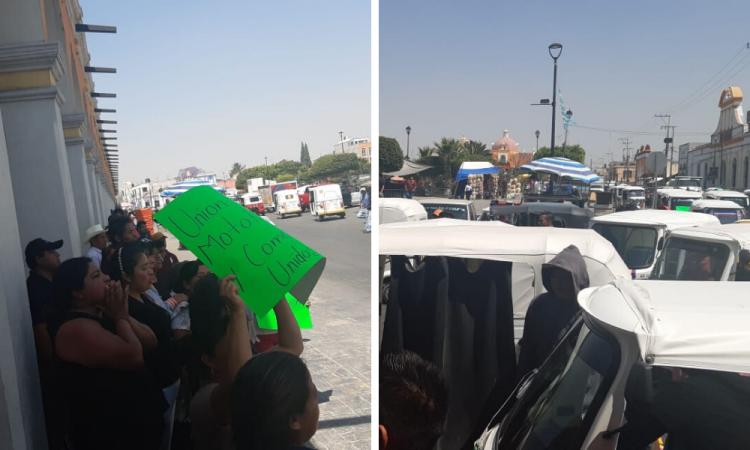 Manifestación de ambulantes en Acatzingo
