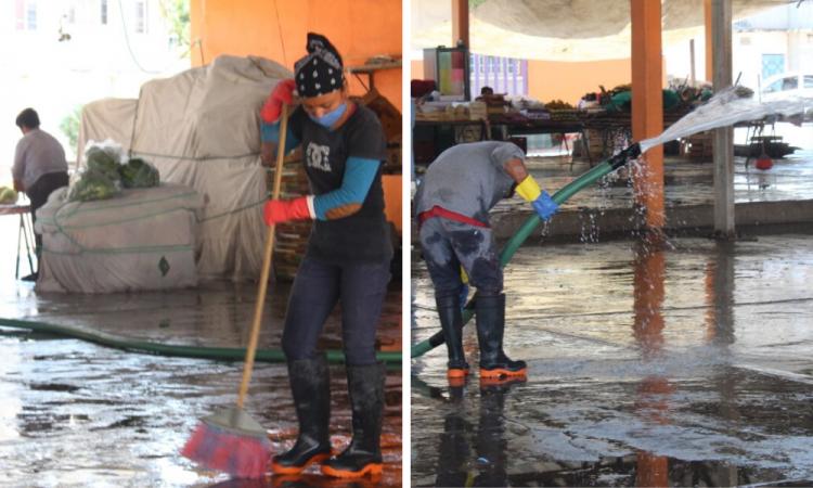 Sanitizan espacios públicos en Tecomatlán