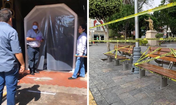 Cierran zócalo e instalan túneles sanitizadores  en Texmelucan