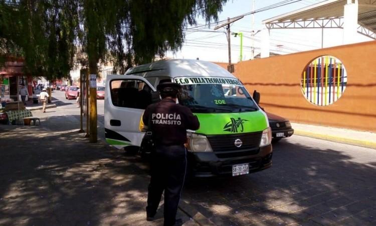 Realizan operativo en transporte público de Tecamachalco