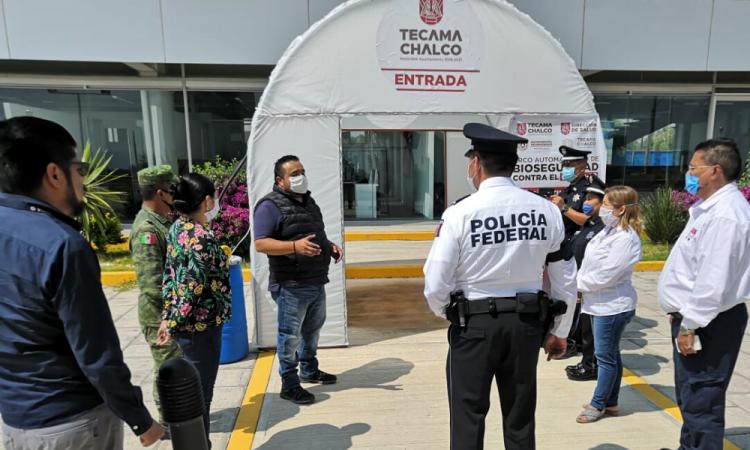 Instalan arcos automatizados de bioseguridad en Tecamachalco