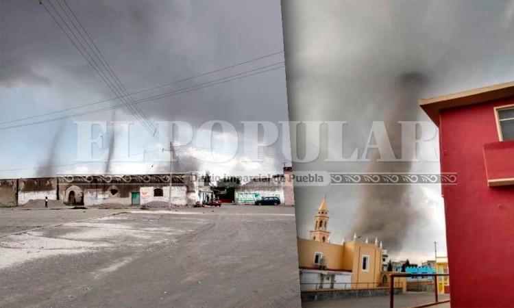 Se forman 3 tornados en San Nicolás Buenos Aires, Puebla