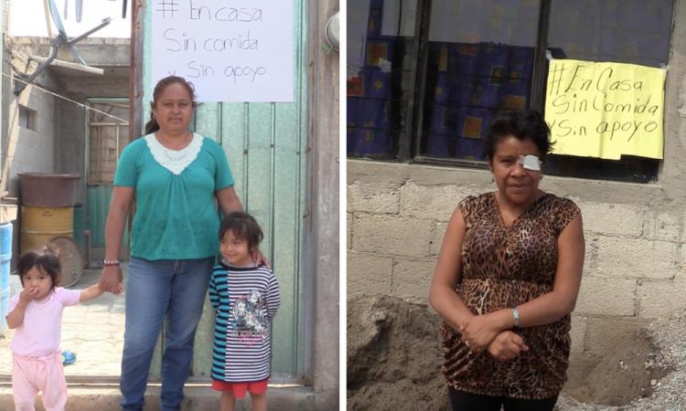 Con carteles expresan hambre y falta de apoyos
