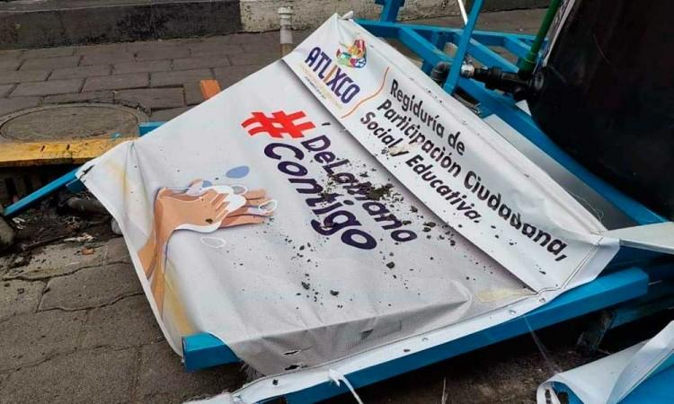 Vandalizan lavamanos municipales de Atlixco