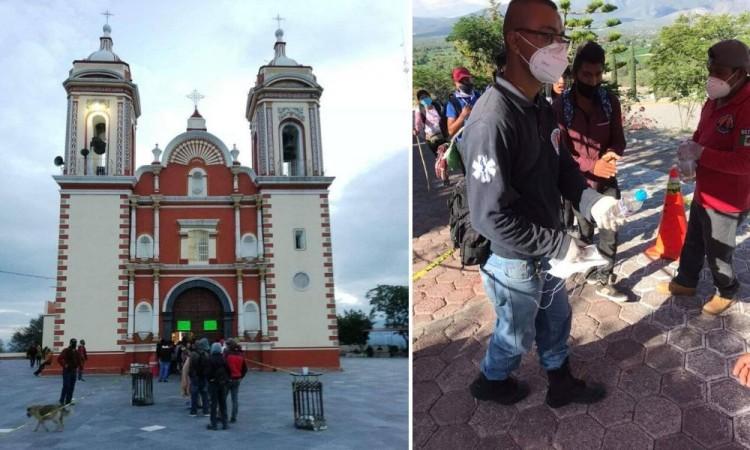 Peregrinos visitan al Señor del Calvario de Tlacotepec; las reuniones están prohibidas