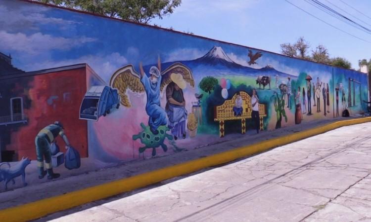 Retratan Nueva Normalidad en murales de Atlixco