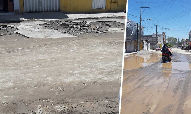 Calles de Texmelucan siguen encharcadas; piden agilizar construcción de colector pluvial