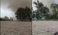 Deja daños materiales y perdidas en cultivos torbellino en  Huixcolotla