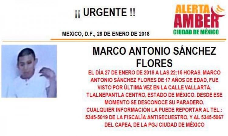 Activan Alerta Amber para encontrar a Marco Antonio