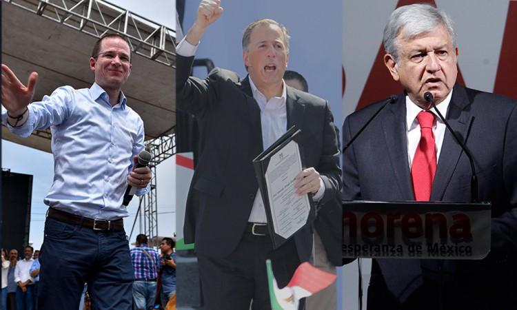 Anaya, Meade y López Obrador candidatos presidenciales