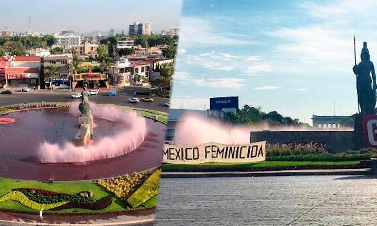 En Guadalajara monumento amanece rojo