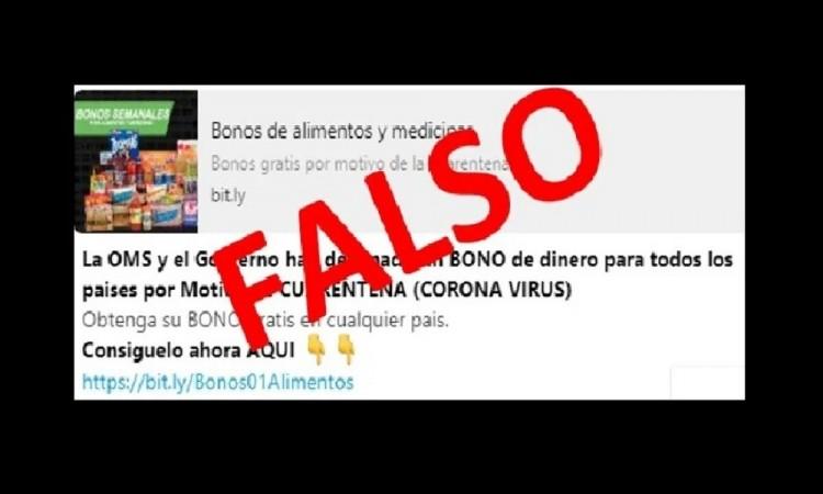 ¡Atento! La ONU y la Cruz Roja NO da bonos por coronavirus