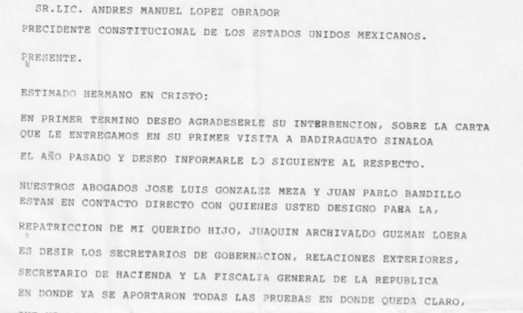 Mamá de El Chapo le escribe carta a AMLO