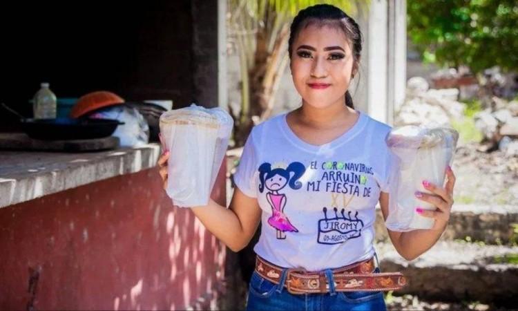 Quinceañera que conmueve a Yucatán; usó el dinero de su fiesta para regalar comida a afectados por Covid