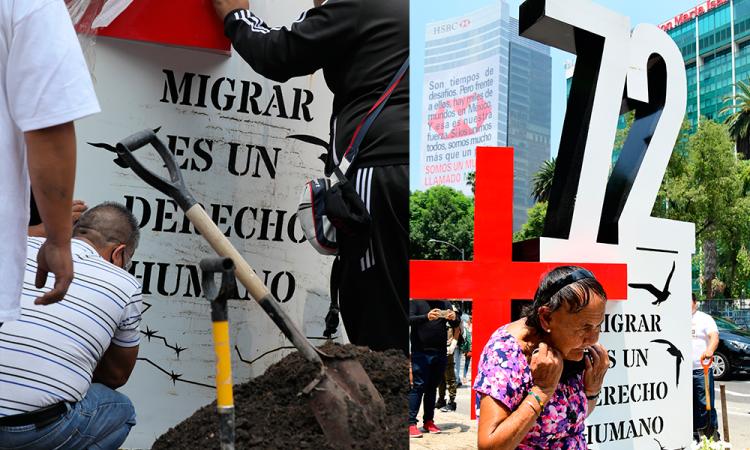 Recuerdan con anti monumento la masacre de 72 migrantes en Tamaulipas