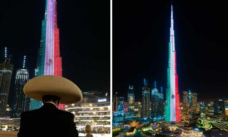 El edificio más alto, Burj Khalifa se ilumina con la bandera mexicana