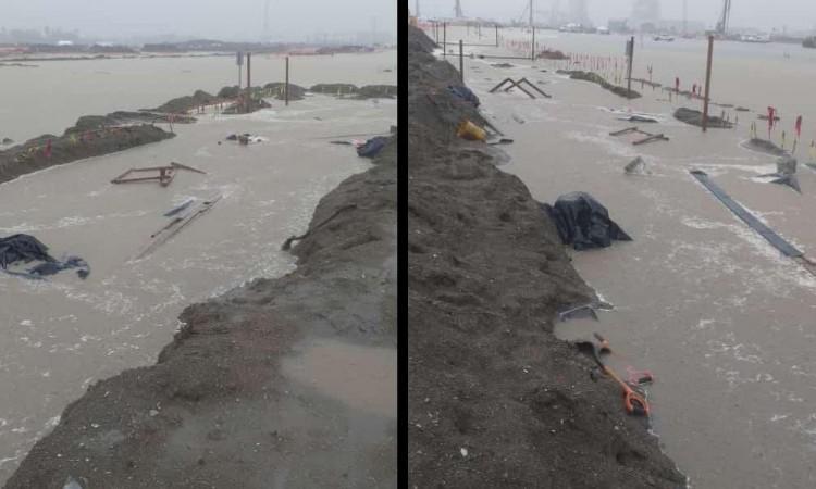 La Secretaría de Energía compartió otras fotografías de los encharcamientos.