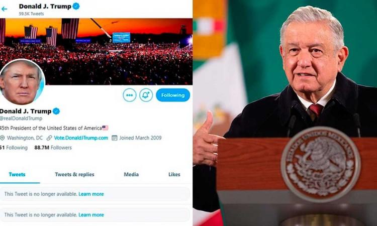 López Obrador critica a Twitter y Facebook por censurar a Trump