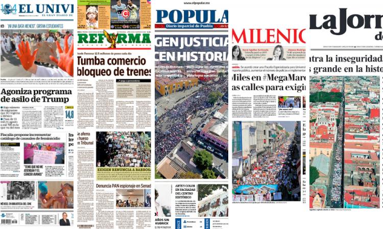 Así llega la Mega Marcha a portadas de periódicos