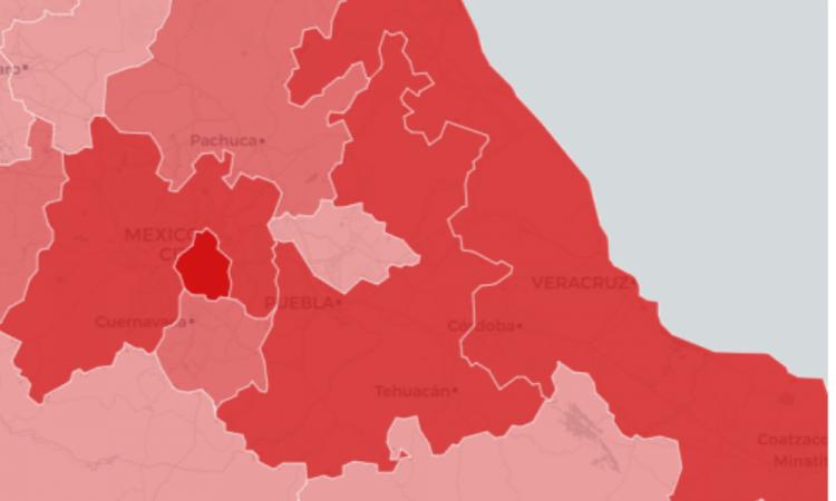 Puebla, 3er lugar con más contagios Covid19 de la zona centro del país
