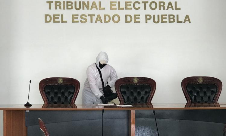 Sanitizan Tribunal Electoral Puebla