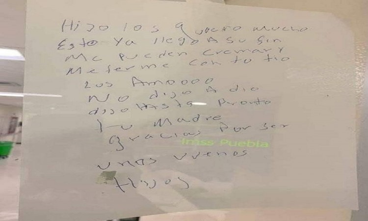 Paciente de Covid-19 se despide de su familia a través de una nota