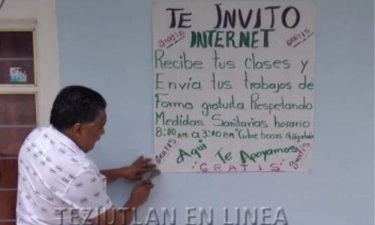"""""""Te invito internet gratis"""": poblano apoya a estudiantes en San Salvador el Seco"""
