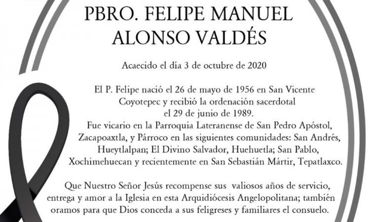 Murió el Párroco Felipe Manuel Alonso Valdés por Covid-19 reportó la Arquidiócesis de Puebla