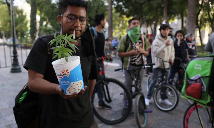 Con Fumatón protestan prórroga de la legalización de la marihuana