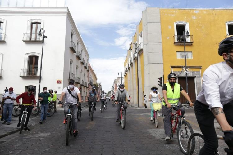 El punto de partida fue la 5 poniente y 5 sur del centro histórico de Puebla.