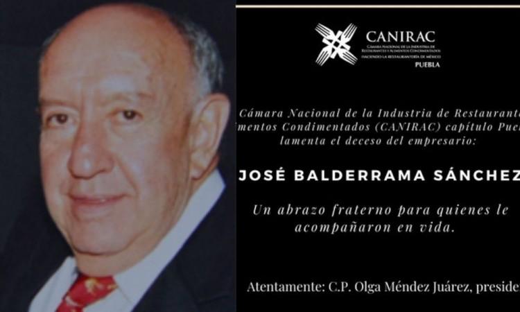 Falleció José Balderrama Sánchez, connotado empresario en Puebla